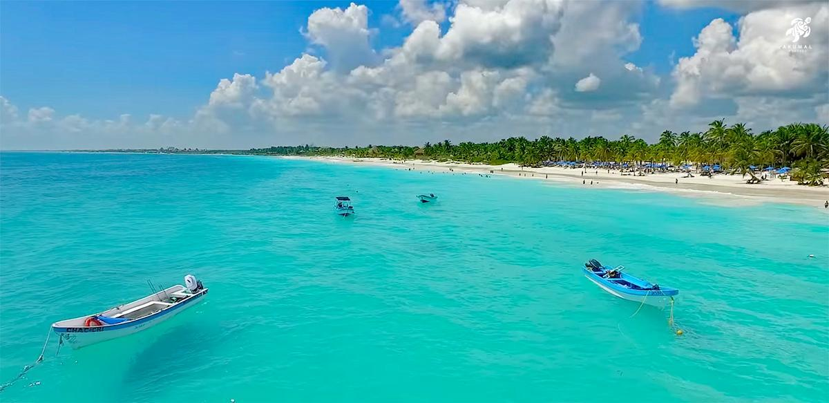 Paradiso Beach in Tulum is a public beach and has boats to take you to outer reefs
