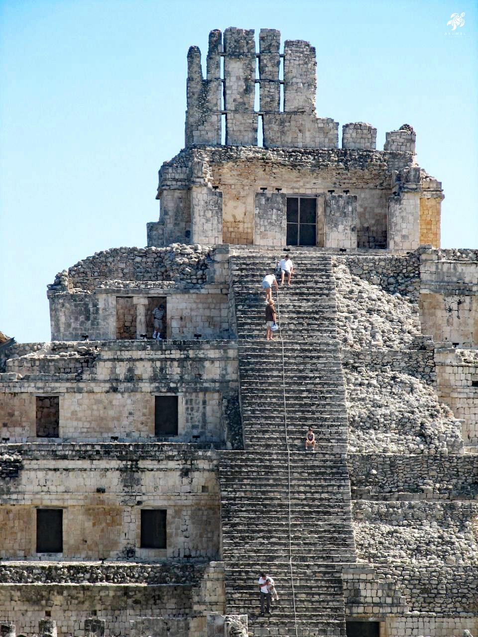 Climbing to the top of a Maya ruin