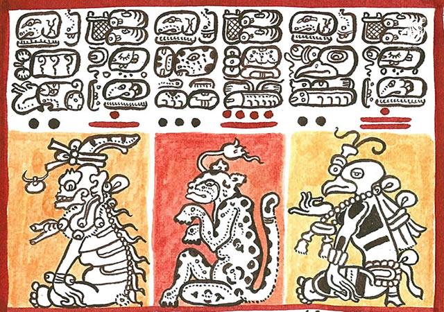 Photo of the Corn God in the Dresden Codex, which was used to decipher the Mayan language