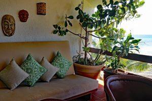 Azul Cielo, La Sirena #12, the beach porch futons make for comfortable lounging and even sleeping