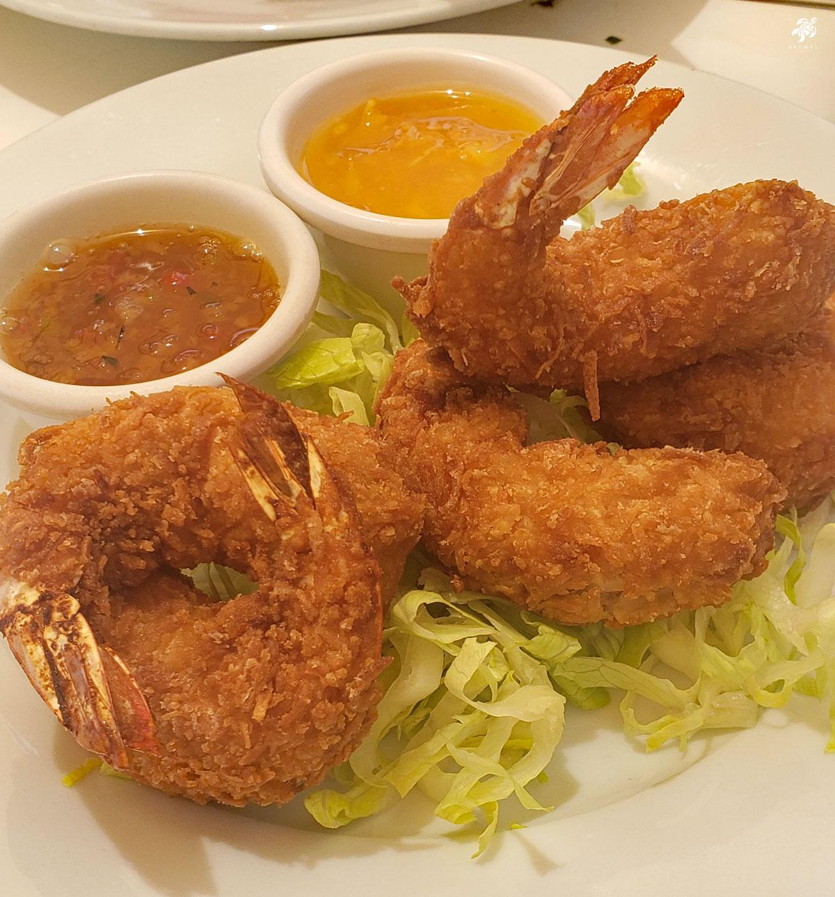 Coconut shrimp with two sauces