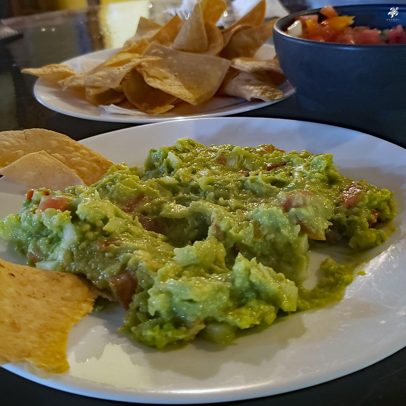 Fresh guacamole ready to eat with chips