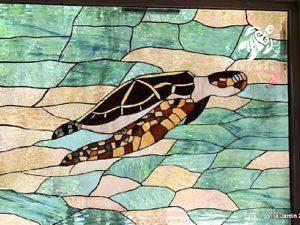 Villa Jardin, La Sirena #16, The dining room has a gorgeous large stained glass mural depicting Akumal's namesake