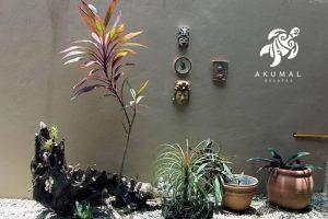 Villa Jardin, La Sirena #16, the downstairs private garden is done in a Mexican fung-shui
