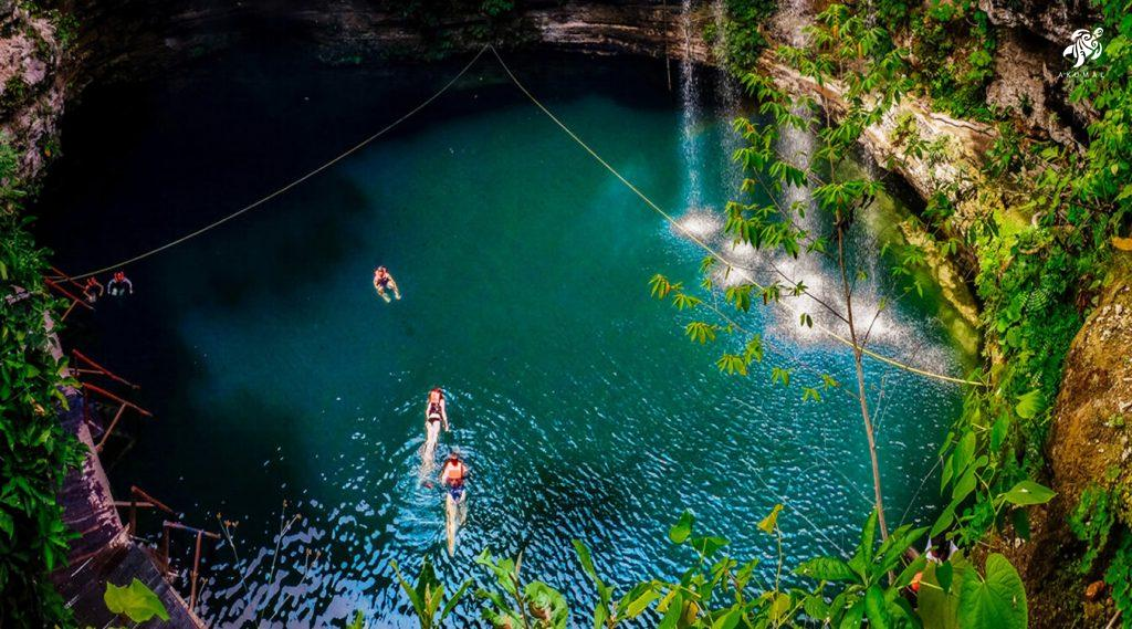 Swimming in a gorgeous cenote surrounded by the Yucatan jungle