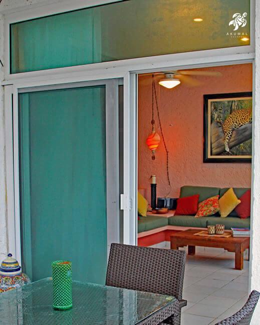 Cen Balam, La Sirena #5, As twilight comes to Half Moon Bay, the interior of Cen Balam in Akumal beckons from the beach patio